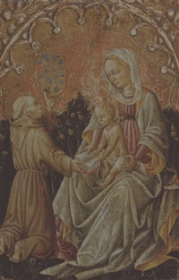 the madonna and child with saints bernardino of siena by antonio alberti (da ferrara)