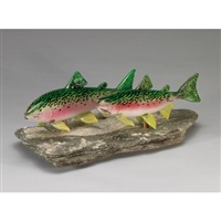 spawning rainbow trout by bavin glassworks