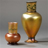 tiffany studios tel-el-amarna vases (2 works) by tiffany studios