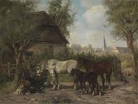 pferde an der tränke by ludwig benno fay