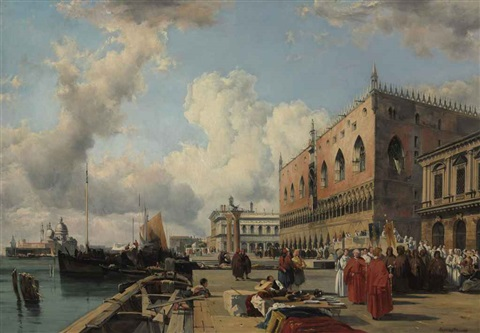 the ducal palace venice with a religious procession by richard parkes bonington