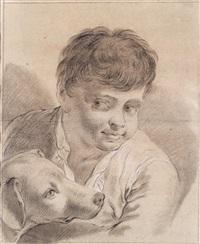 porträt eines jungen mit hund by domenico maggiotto