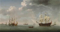 a 70-gun royal naval two decker, a small merchantman, a dutch galliot and other shipping, on calm waters by samuel scott