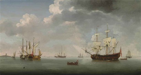 a 70 gun royal naval two decker a small merchantman a dutch galliot and other shipping on calm waters by samuel scott