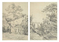 macao eglise de lazarus (sketch) (+ de canton et macao (sketch); 2 works) by auguste borget