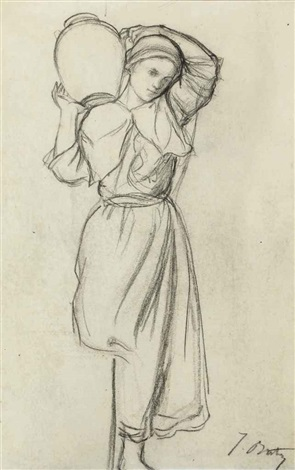 femme portant une jarre sur l'épaule by jules breton