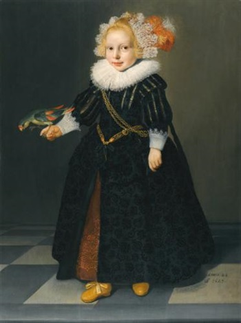 portrait of a child aged 2¼ full length standing in an interior holding a parrot by dirck dircksz van santvoort
