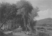 haywagon on a river road by william g. boardman