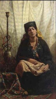 femme au narghile by alexander schramm