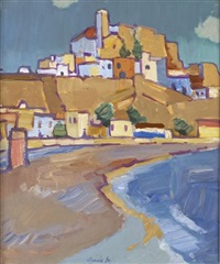 spanish town on the beach by denis frederic neal peploe