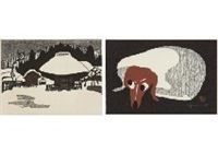 winter in aizu (6); dog (2 works) by kiyoshi saito