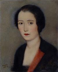 busto di donna con bavero rosso (la cinesina) by primo conti