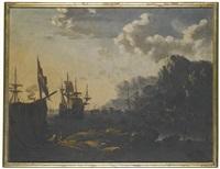 a pair of mediterranean harbour views by johann anton eismann