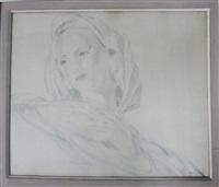femme en bleue by boris smirnoff