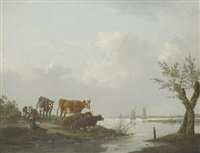cattle in a meadow, a river landscape beyond by charles towne