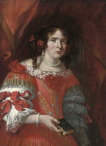 portrait of a lady in a red and gold embroidered dress with red bows and lace trimmings by juan bautista martinez del mazo