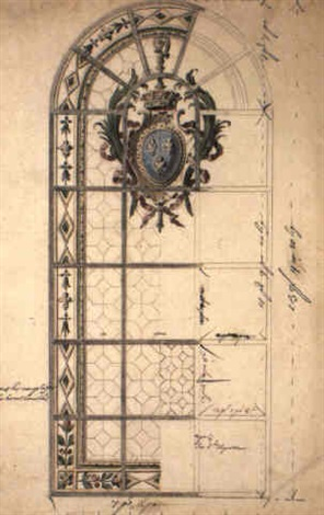 design for stained glass window with arms of france in cartouche by gilles marie oppenort