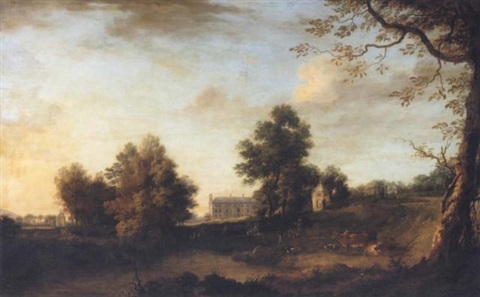 a prospect of belan house ballitore county kildare seat of the earls of aldborough with cattle in the foreground by william ashford