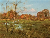winding creek in autumn by edward wilkins waite