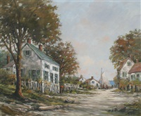 waterside village scene by arthur e. bracy