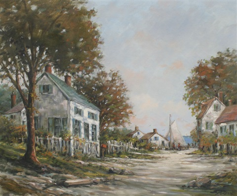 waterside village scene by arthur e bracy