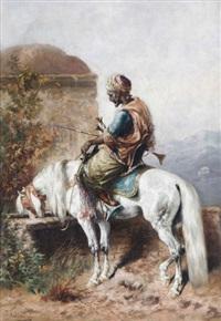 chevalier arabe sur cheval blanc près de l'abreuvoir by gustav colsoulle