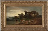 kühe bei der tränke mit segelschiff und windmühle by marie hellriegel