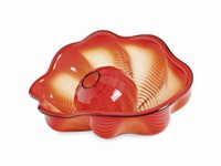 two-piece red seaform set with black lip wrap by dale chihuly