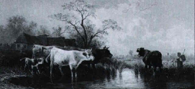 kühe an der tränke by joseph clément maxime jeannot