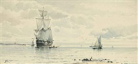 a collier drying her sails at the mouth of an estuary (+ fishing vessels in a calm; pair) by albert markes