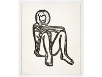 monica stitting elbows on knees (from the brooklyn academy of music iii series) by tom wesselmann