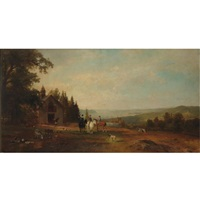 hudson river landscape with equestrian group by herman fuechsel
