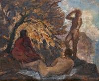 drei figuren in der landschaft by otto sohn-rethel