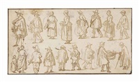 A double-sided sheet of figure studies (verso,...