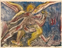 jacob wrestling with the angel by lippy lipshitz