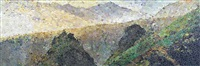 still life (morning in the mountains, after caspar david friedrich) (from pictures of magazines) by vik muniz