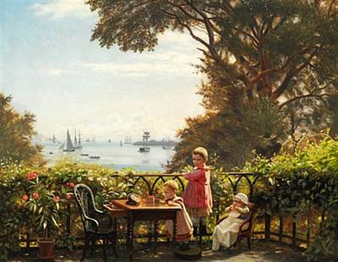 from the artists porch with a view towards copenhagen harbour with trekroner fortress and the sound by carl jens erik c rasmussen