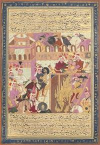 shah isma'il taking yazd and capturing the rebel ra'is muhammad karra (from the tarikh-i jahangusha-yi khaqan sahibqiran) by muin musavvir
