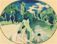 bathers on the sura by aristarkh vasilevich lentulov