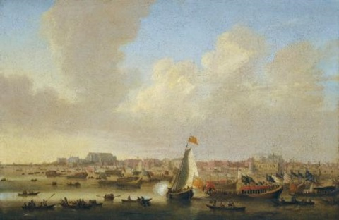 view of the thames at westminster on lord mayors day by thomas wijck