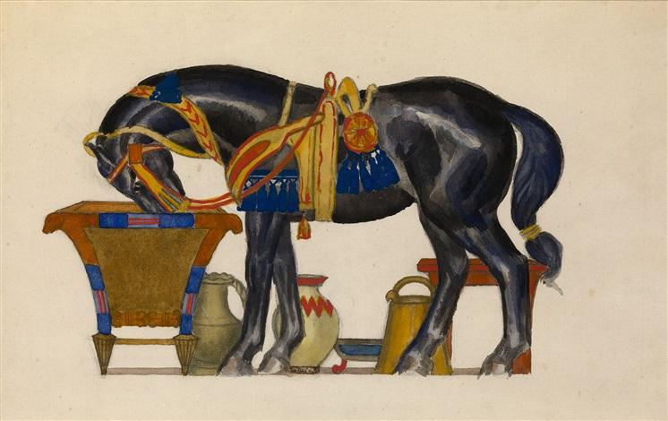 cheval sabreuvant by leon bakst