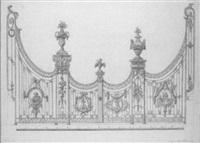 projet de grille ornée de medaillons figurant saint pierre et saint paul et des lyres, des vases, la partie centrale surmontée d'un coq by francois lepet