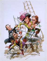 swashbuckling errol flynn gets the girl by jack davis