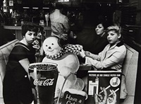 office workers & snowman, new york by william klein