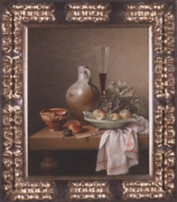 still life of wine glass, fruit and pottery by w. smits