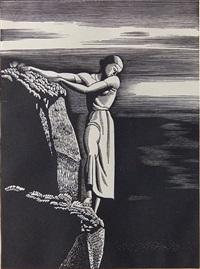 girl on cliff (burne-jones 57) by rockwell kent