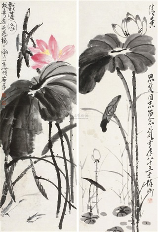 荷花 lotus 2 works by xiao longshi