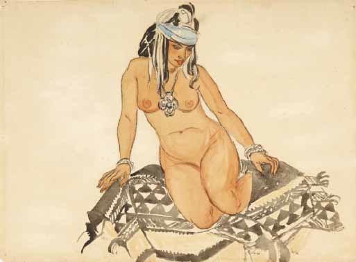 femme nue rabat by leon bakst
