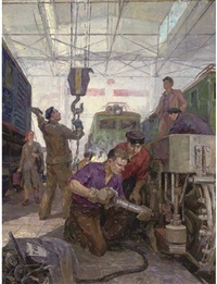 workers at the moscow-sortirovochnaya depot by tamara gladkaia