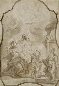 die heilige familie mit elisabeth und johannes dem täufer. darstellung mit rocailleumrahmung, vermutlich vorstudie für ein altarblatt by franz xaver wagenschön